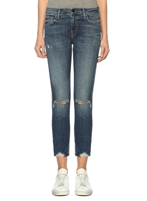 J Brand Yırtık Boru Paça Jean Pantolon Mavi